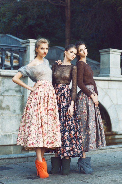 Sheer Top with Tea Length Skirt