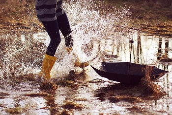 Rain Boots & Bubble Umbrellas
