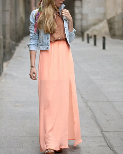 brunch maxi peach