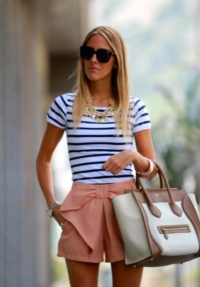 brunch striped top bow shorts