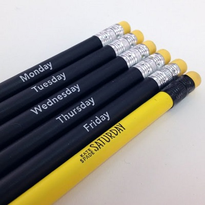 kate spade saturday days of the week pencils