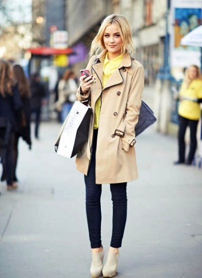 trench + bright top