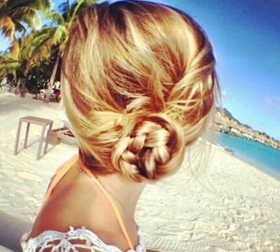 side bun + braid