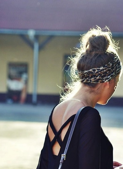 topknot + scarf