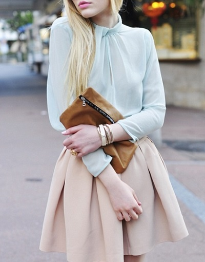 mint top pale skirt