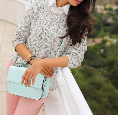 pastel bottoms + bag