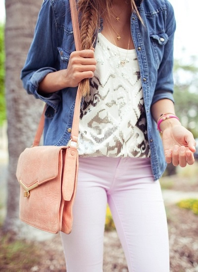 pastels, lace + denim