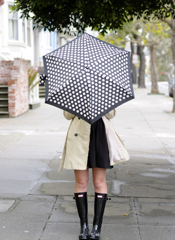 rain boots and polka dot umbrella