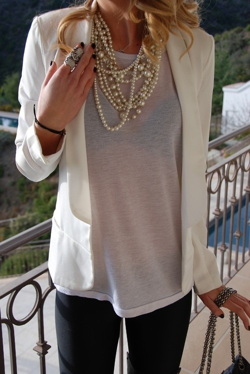 white blazer + pearls & black