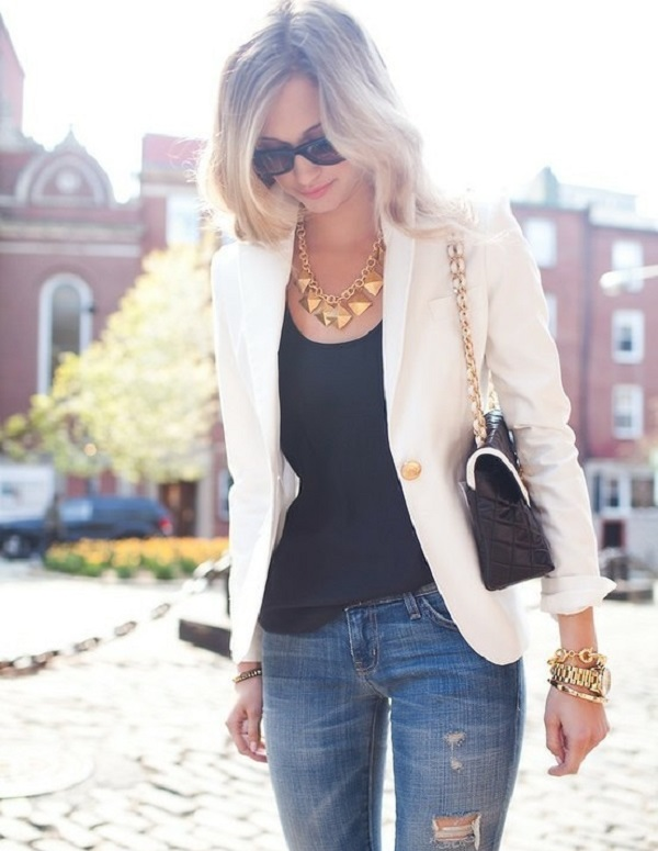 white blazer + quilted purse