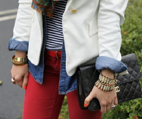 white blazer + stripes & chambray