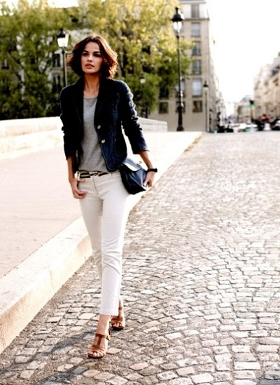 white denim + blue blazer