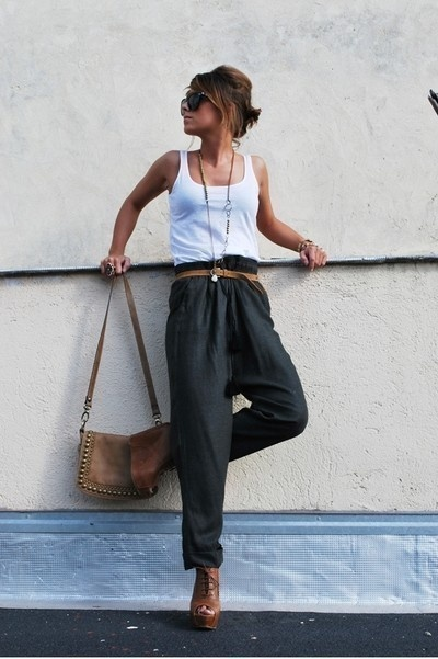 white tank top high-waist pants