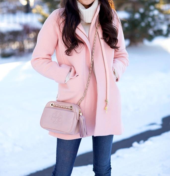 Pink! J. Crew Cocoon Coat