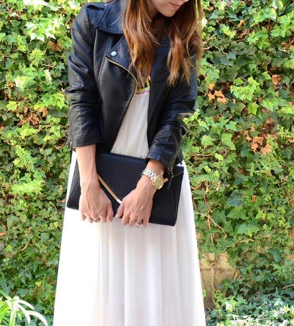 Maxi Dress and Motorcycle Jacket