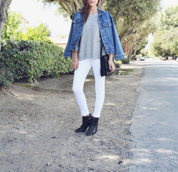 White Out: White Denim and Grey Sweater