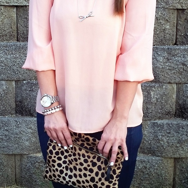 Friday's Five: Pink blouse + leopard clutch