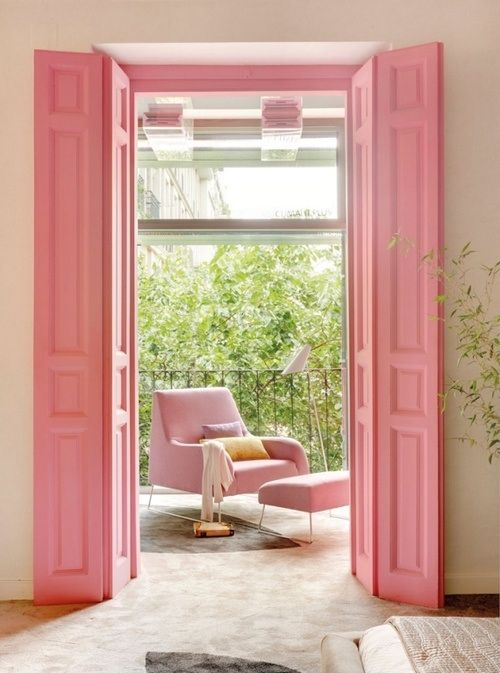 pink bifold doors