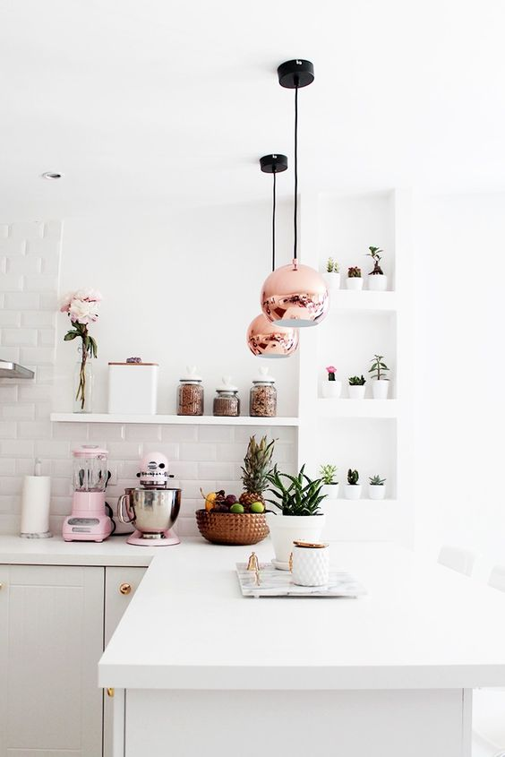 pink copper white kitchen