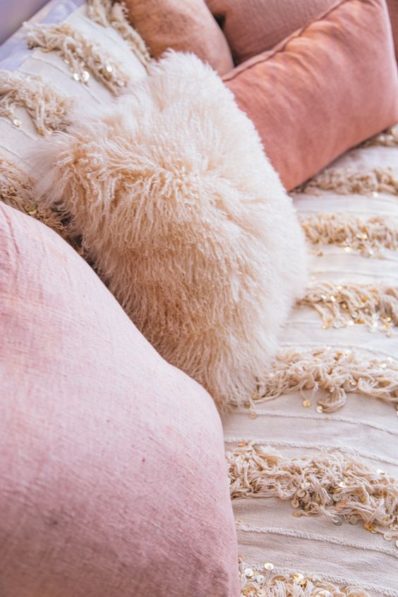 pink pillows sofa