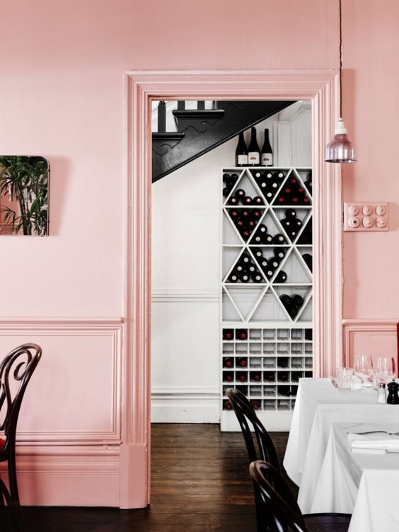 pink walls and molding